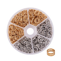 PandaHall Elite About 400 Pcs 304 Stainless Steel Open Jump Rings Diameter 8mm Wire 21-Gauge 2 Colors for Jewelry Findings