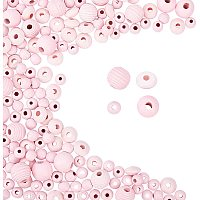 Pandahall Elite 600pcs Wood Beads, Pink Dyed Round Wood Ball Loose Spacer Beads Farmhouse Beads Garland Decorative Beads for DIY Jewelry Craft Making Home Decorations Party Decorations