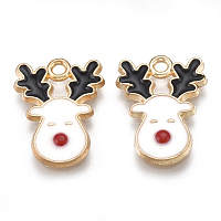 Arricraft Alloy Pendants, with Enamel, Christmas Reindeer/Stag, Light Gold, Creamy White, 17x13x1.5mm, Hole: 1.5mm