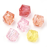 Arricraft Transparent Acrylic Beads, Faceted, Cube, Mixed Color, 9x10x10mm, Hole: 2.5mm