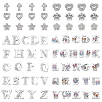 Alloy Crown Slide Charms with Grade A Rhinestones, Letter A~Z, Alphabet, Platinum, 13x14x5mm, Hole: 7x2mm