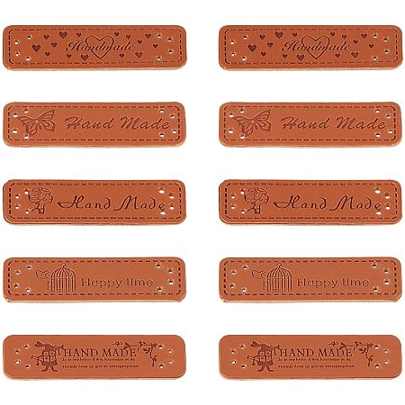 NBEADS 50 Pcs 10 Patterns PU Leather Label, Handmade Clothing Tags Jeans Bags Hats Shoes Tag Sign for DIY Sewing Crafts, 5.1x1.6cm