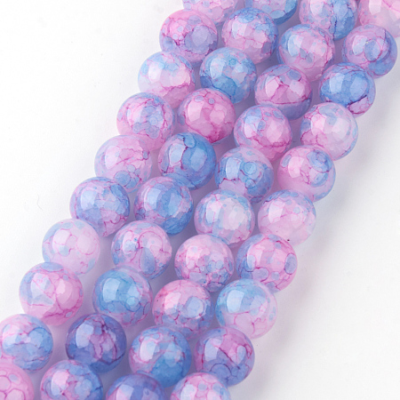 Nbeads Baking Painted Crackle Glass Beads Strands, Round, PearlPink, 8mm, Hole: 1.3~1.6mm; about 100pcs/strand, 31.4