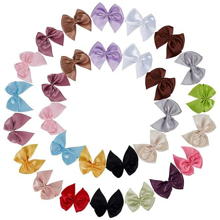 Handmade Woven Costume Accessories, Bowknot & Hair Bows, Mixed Color, 25~35x30~35x2~3mm; 270pcs/set