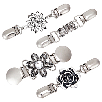 Gorgecraft Retro Alloy Cardigan Clips, Sweater Collar Clips, Dresses Shawl Clips, for Women Girls, Mixed Shapes, Antique Silver & Platinum, 90~120mm; 4pcs/set