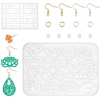 PandaHall Elite Earring Resin Molds Jewelry Epoxy Resin Casting Silicone Molds Including 100pcs Earring Hooks, 200pcs Jump Rings, 100pcs Ear Nuts for Resin Jewelry, Pendant, Resin Crafts DIY