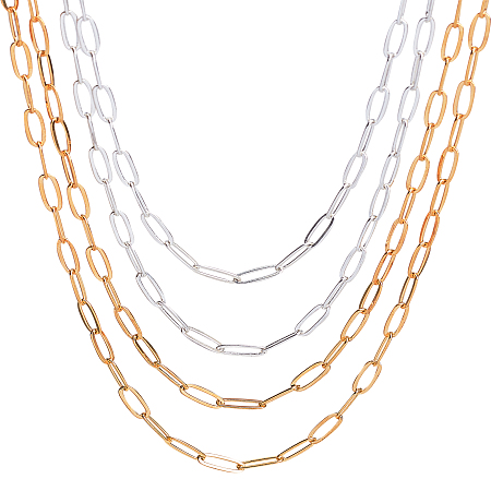 Brass Paperclip Chains, Flat Oval, Drawn Elongated Cable Chains, Soldered, Golden & Silver, 11x4.3x0.7mm; 2 colors, 4.6m/color, 9.2m/box