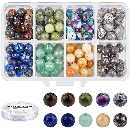 NBEADS 144 Pcs Natural Gemstone Beads, Round Stone Loose Beads with Elastic Crystal Thread DIY Jewelry Set Kits