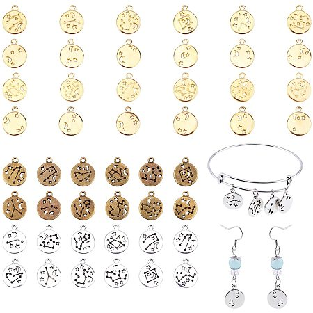 PandaHall Elite 144 Pieces Zodiac Round Charms Metal Double Sided Charms 12 Constellation Charm Pendants DIY Jewelry Zodiac Charms for Necklace Bracelets Earrings Crafts Making Supplies
