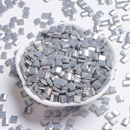 MIYUKI TILA Beads, Japanese Seed Beads, 2-Hole, (TL1865) Opaque Smoke Gray Luster, 5x5x1.9mm, Hole: 0.8mm; about 118pcs/10g