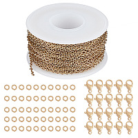 SUNNYCLUE DIY Jewelry Kits, with 304 Stainless Steel Soldered Cable Chains, Lobster Claw Clasps and Open Jump Rings, Golden, 2.5x2x0.5mm; about 10m/roll, 1roll