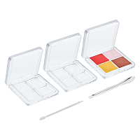 Olycraft Plastic 4 Compartments Eyeshadow Box, with Stainless Steel Double Sided Finger Dead Skin Push, Stainless Steel Lab Spatula Micro Scoop, Stainless Steel Color, 5pcs/set