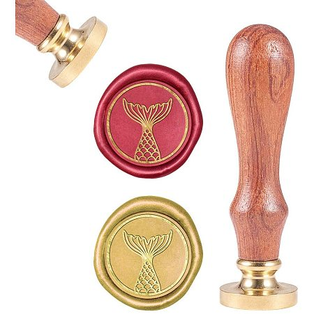 CRASPIRE Wax Seal Stamp, Sealing Wax Stamps Mermaid Tail Retro Wood Stamp Wax Seal 25mm Removable Brass Seal Wood Handle for Envelopes Invitations Wedding Embellishment Bottle Decoration Gift Packing