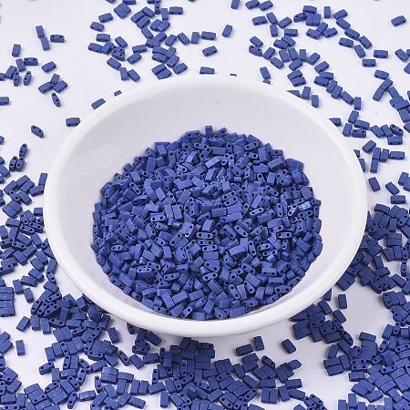 MIYUKI Half TILA Beads, Japanese Seed Beads, 2 Hole, (HTL2001) Matte Gunmetal, 5x2.3x1.9mm, Hole: 0.8mm; about 250pcs/10g