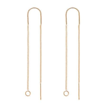 BENECREAT Brass Stud Earring Findings, with Loop, Ear Threads, Real 18K Gold Plated, 103mm, Hole: 2mm, Pin: 0.8mm; 10pcs/box
