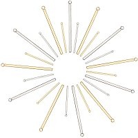 Unicraftale 304 Stainless Steel Pendants, Bar, Golden & Stainless Steel Color, 43x3x2mm, Hole: 1.8mm; 33x1.5x1.5mm, Hole: 2mm; 24pcs/box
