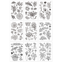 Globleland Acrylic Stamps, for DIY Scrapbooking, Photo Album Decorative, Cards Making, Stamp Sheets, Mixed Patterns, 16x11x0.3cm; 9 patterns, 1sheet/pattern, 9sheets/set