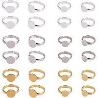 PandaHall Elite 60pcs 3 Colors Round Brass Adjustable Finger Ring Settings Components Bezel Tray Flat 8mm / 10mm Ring Base Blank Jewelry Findings for Ring Making