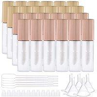 BENECREAT 20 Pack 1.2ml Lip Gloss Tubes Mini Refillable Lip Gloss Balm Bottles with Gold and Rose Gold Brush Cap, 5PCS Hoppers and 5PCS Pipettes for Lipstick Samples DIY