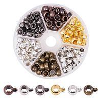 PandaHall Elite 150pcs 6 Colors Column Bail Beads Antique Tibetan Hanger Dangle Links Beads for European Charm Bracelet Pendant