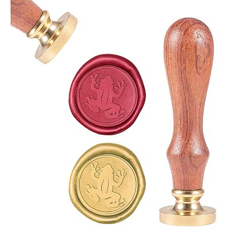 CRASPIRE Wax Seal Stamp, Sealing Wax Stamps Frog Pattern Retro Wood Stamp Wax Seal 25mm Removable Brass Seal Wood Handle for Envelopes Invitations Wedding Embellishment Bottle Decoration Gift Packing