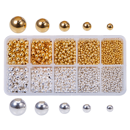 PandaHall Elite 1 Box (About 2340pcs) 2 Color 5 Size Smooth Round Metal Beads Tiny Spacer Round Beads for Jewelry Making (Golden, Silver)