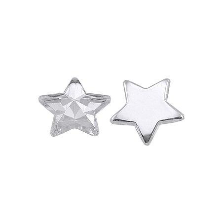 NBEADS 500pcs Acrylic Rhinestone Cabochons, Faceted Star, White