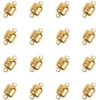 Brass Magnetic Clasps, Oval, Silver, 11x7mm, Hole: 1.5mm, 100sets/box