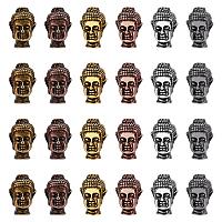 Tibetan Style Alloy Beads, Buddha Head, Mixed Color, 13x9x8.5mm, Hole: 1.5mm, 6 colors, 4pcs/color, 24pcs/box