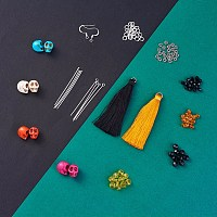 Arricraft DIY Halloween Style Earring Making, with Brass Earring Hooks, Synthetic Turquoise Beads, Nylon Thread Tassel Big Pendants Decoration and Glass Beads, Silver Color Plated, 15mm, Hole: 2mm