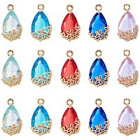 Transparent Glass Pendants, for DIY Jewelry Making, with Brass Findings, Faceted, teardrop, with Flower, Light Gold, Mixed Color, 16x9x6mm, Hole: 1.2mm; 5colors, 4pcs/color, 20pcs/box