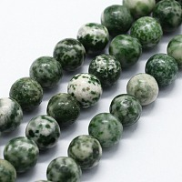 Arricraft Natural Green Spot Jasper Beads Strands, Round, 4mm, Hole: 0.6mm, about 85~88pcs/strand,  14.76 inches(37.5cm)