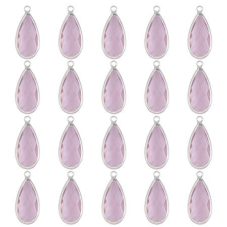 Olycraft Brass Glass Pendants, Faceted, Teardrop, Platinum, Pink, 23.5x10.5x4.5mm, Hole: 2mm 20pc/box