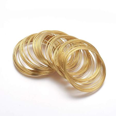 NBEADS 1000g Steel Memory Wire 0.6mm for Bracelets Making, Nickel Free, Golden, About 2200 circles/1000g