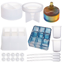 SUNNYCLUE Silicone Storage Box Molds, Resin Casting Molds, For UV Resin, Epoxy Resin Jewelry Making, with Disposable Latex Finger Cots, Measuring Cup and Pipettes Dropper, White