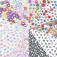 Alphabet Acrylic Beads, Mixed Shapes, Mixed Color, 1200pcs/set
