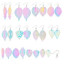 SUNNYCLUE DIY Colorful Earrings Making Set Kits, with 201 Stainless Steel Filigree Leaf Pendants and 316 Stainless Steel Earring Hooks, Mixed Color