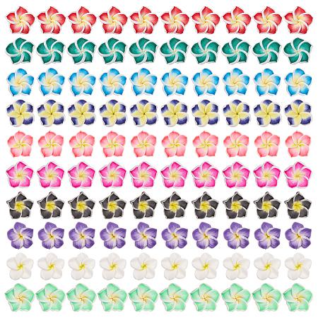 SUNNYCLUE Handmade Polymer Clay 3D Flower Plumeria Beads, Mixed Color, 15x8mm, Hole: 2mm, 100pcs/set