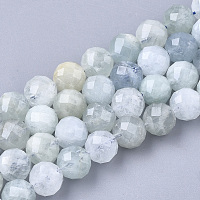 ARRICRAFT Natural Aquamarine Beads Strands, Faceted, Round, 7.5~8x8mm, Hole: 1mm, about 25pcs/strand, 7.48 inches