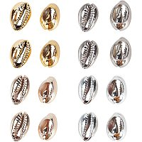 Electroplated Shell Beads, Cowrie Shells, Mixed Color, 15~20x10~12x5~6mm, Hole: 12~14x2~3mm; 4 colors, 10pcs/color, 40pcs/box