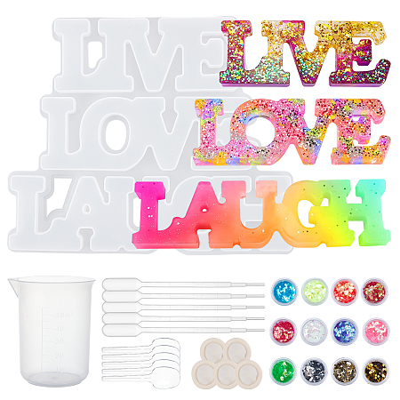 Olycraft Word Love & Laugh Silicone Molds Kits, Resin Casting Molds, For UV Resin, Epoxy Resin Craft Making, with Plastic Pipettes, Nail Art Sequins, Latex Finger Cots, Mixed Color, 135x162x12.5mm