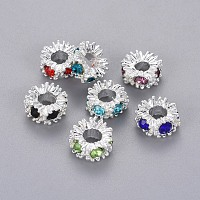Arricraft Resin Rhinestone European Beads, Large Hole Beads, Rondelle, Mixed Color, 13x7mm, Hole: 6mm
