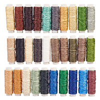 Sewing Threads, Flat Durable Strong Bounded, Polyester Leather Sewing Waxed Thread, Mixed Color, 0.8x0.3mm; 3bags/set