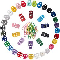 Plastic Spring Cord Locks and Iron Paper Clips, Coated PVC Plastic, Mixed Color, 17~28x14~19.5mm, Hole: 3~8mm