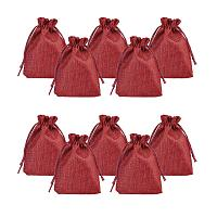 ARRICRAFT 100pcs Burlap Packing Pouches Drawstring Bags 5x7 Gift Bag Jute Packing Storage Linen Jewelry Pouches Sacks for Wedding Party Shower Birthday Christmas Jewelry DIY Craft, DarkRed