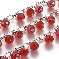 Handmade Faceted Rondelle Glass Beads Chains for Necklaces Bracelets Making, with Iron Cross Chains and Eye Pin, Unwelded, Red, 39.3; about 94pcs/strand