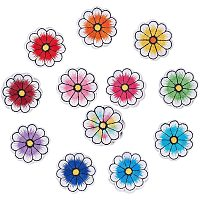PandaHall Elite 120pcs 12 Colors Flower Cloth Sew On Patches 1.5 Inches Iron On Patch Applique Clothes Decorative Patches Sew Appliques for Clothes Jackets Backpack Repairing Decorations