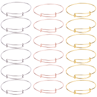 SUNNYCLUE Adjustable Brass Bangle Making, Mixed Color, 2-3/4 inches(70mm); 6pcs/color, 18pcs/set