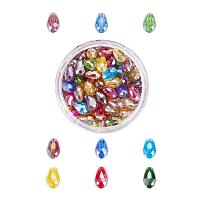 NBEADS 1 Box 200 Pcs Crystal Abacus Faceted Drop Glass Beads, Mixed Color AB-Color Faceted Jewelry Glass Beads Interval Loose Beads for DIY Pendants Necklace Bracelet Making