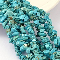 ARRICRAFT Dyed Natural White Jade Chip Beads, Imitation Green Turquoise, Deep Sky Blue, 4~10x4~6x2~4mm, Hole: 1mm; about 210pcs/strand, 35.4 inches